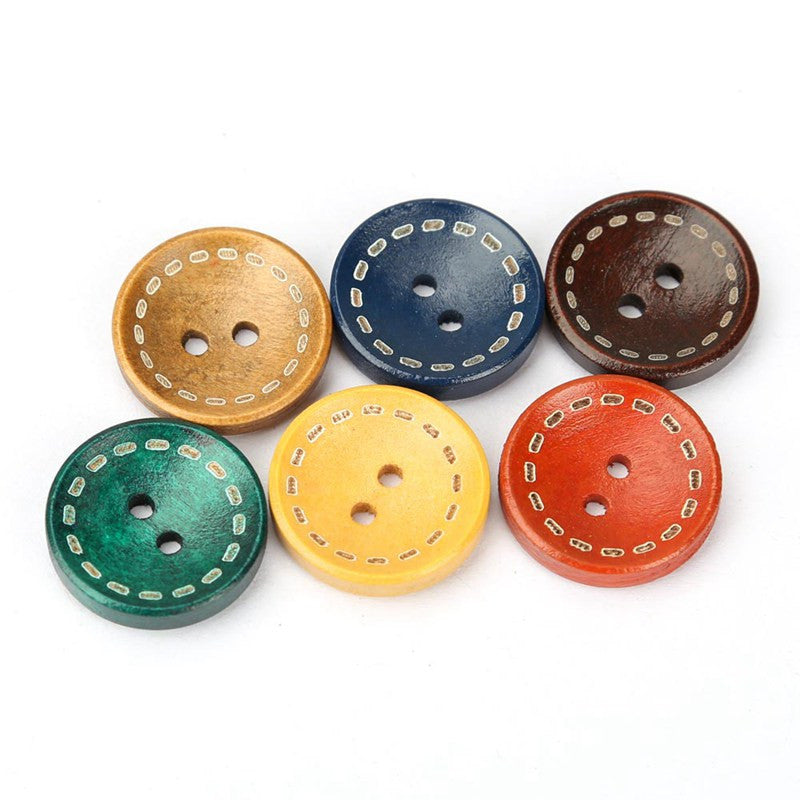 Mixed colors 2 Holes Round Wood Buttons 100 pieces of 19mm