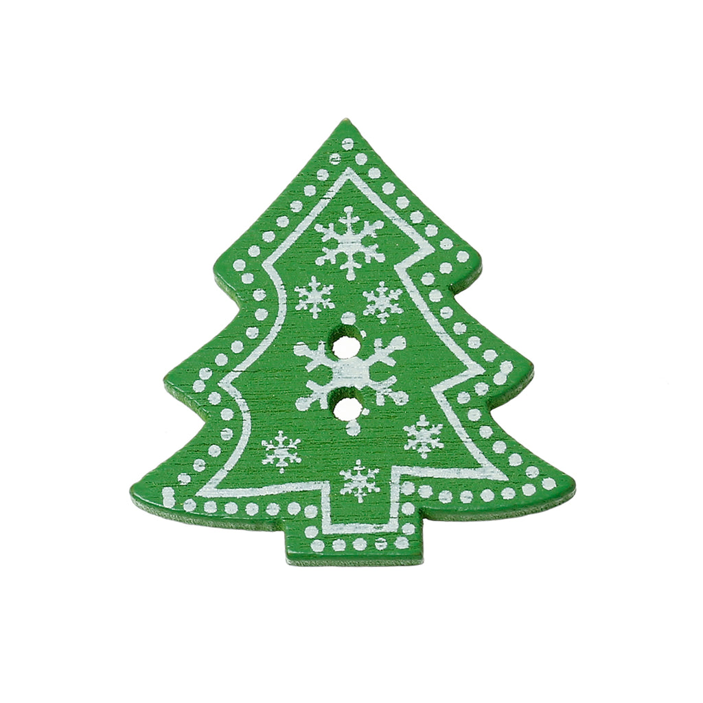 Christmas Tree with Snowflake Pattern 2 Holes button 32mm 5pc