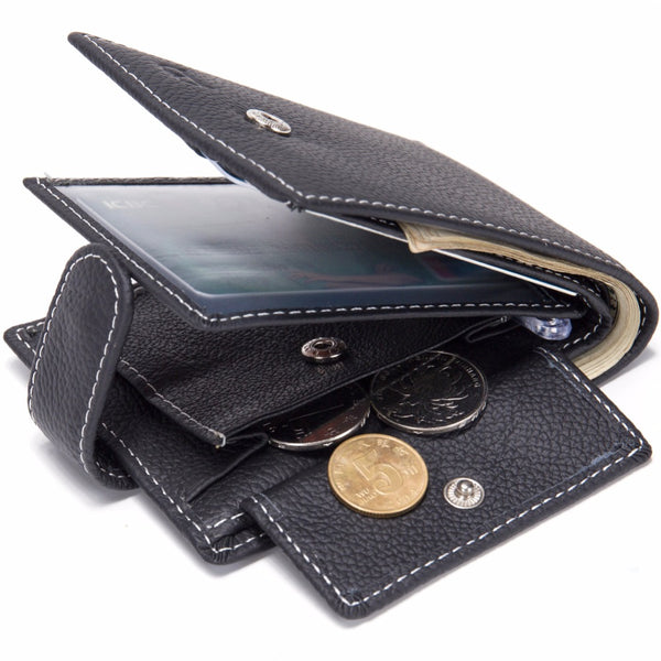 Slim Leather Wallet with Coin Pocket