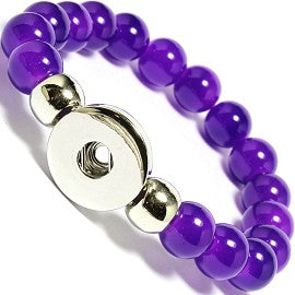 Women's Glass Beads Bracelet Snap Button Bangle. 10mm Glass Beads, 18mm Snap, 22cm Bracelet size