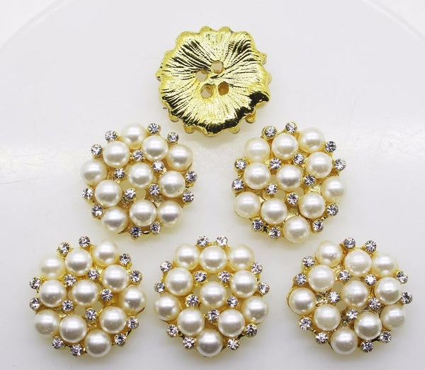 """Dora"" Gold and Rhinestones Buttons Pearl button  22mm 10pcs"
