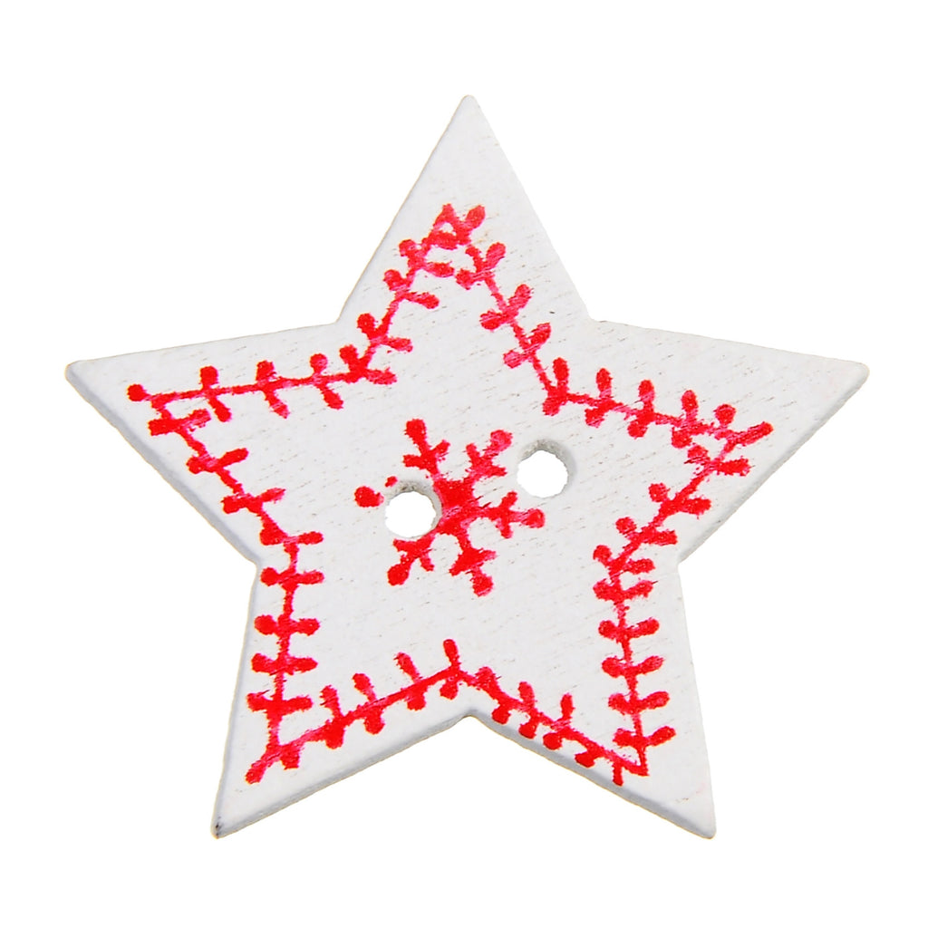 Christmas Star with Snowflakes 2 Holes wood button 29 x 29mm 50pcs