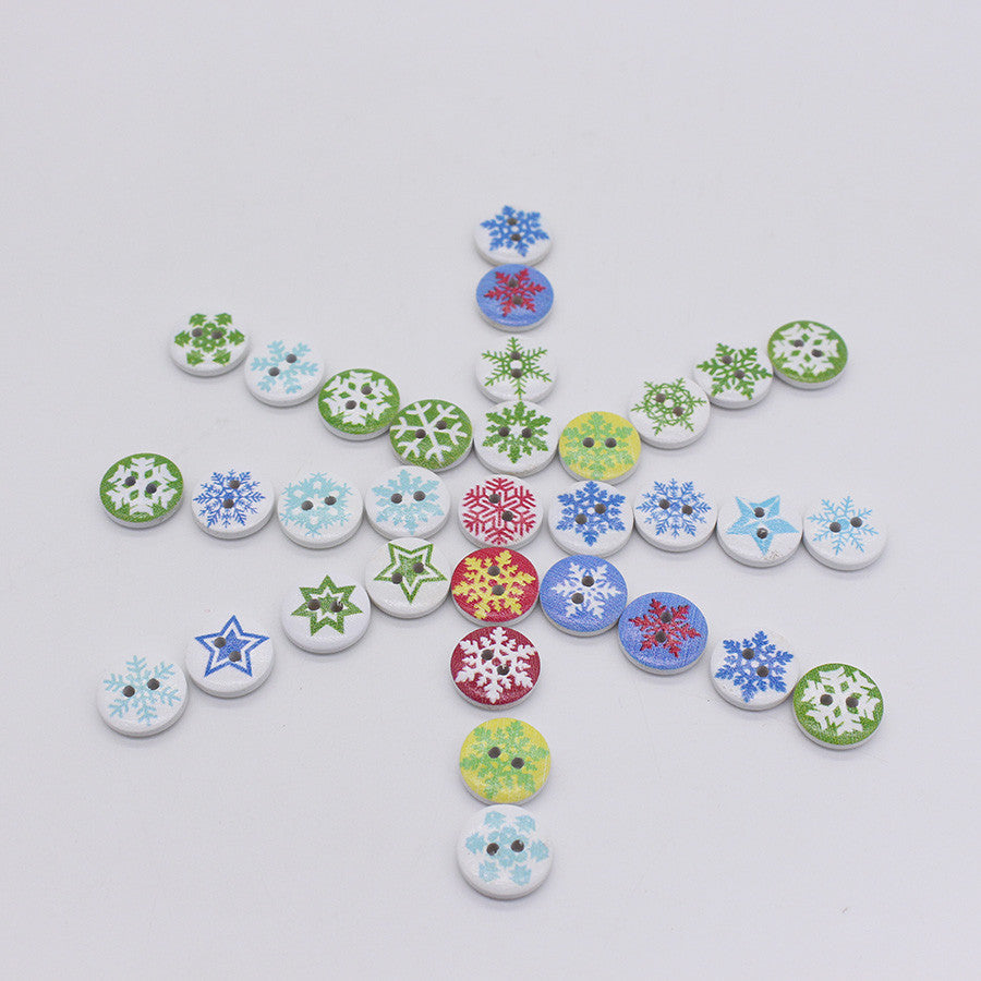 Christmas Snowflake Wooden 2 Holes Buttons 15mm 100pcs