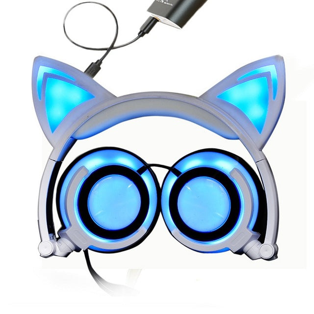 eSports Cat Ear & Foldable  Headphones with Flashing LED light for PC