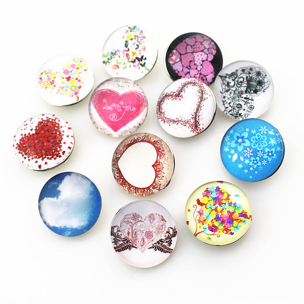 Colourful Glass Snap Buttons fit for Braclet 18mm/20mm 10pcs