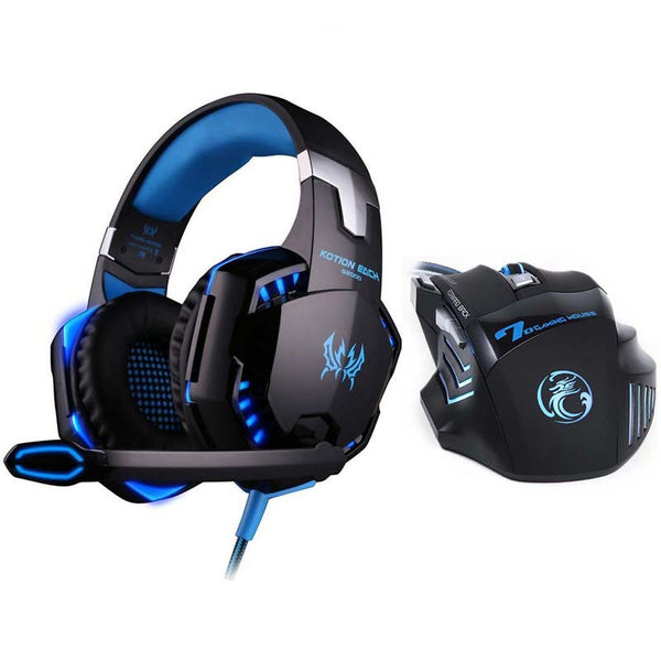 eSports G2000 LED Headset plus 7 Button 5500 DPI Professional Gamer Gaming Mouse Gift Set