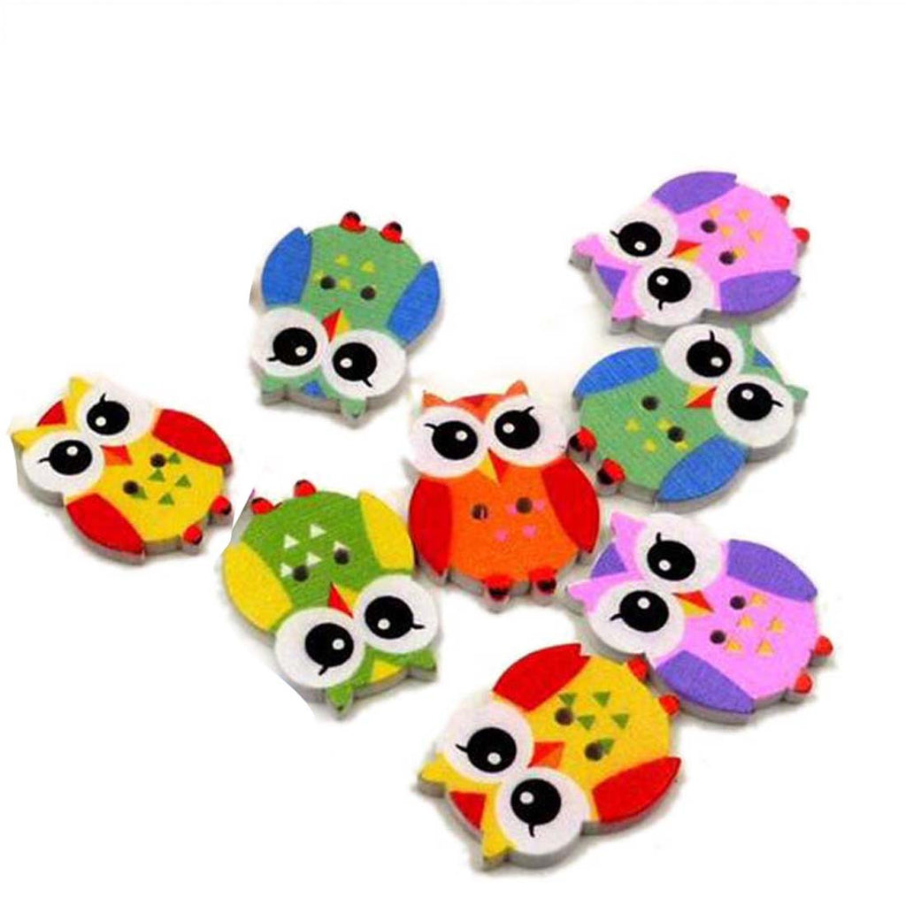 Cute Owl Wood 2 Holes Buttons 20x25mm 8 Pieces
