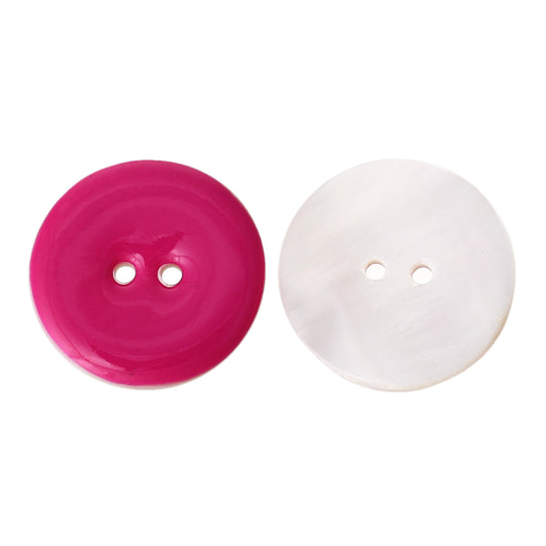 Enamel 6 Bright Colors Shell 2 Holes Buttons 25mm 10pcs