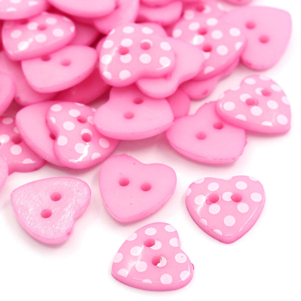 Pink and White Dots Heart Shaped 2 Holes Buttons 15mm 100pcs