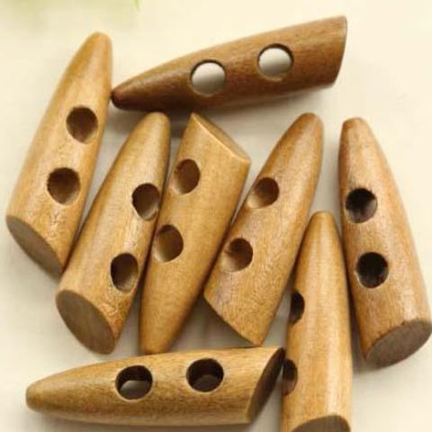 Horn Wood Toggle 2 holes Buttons.  42x18mm, 20pc