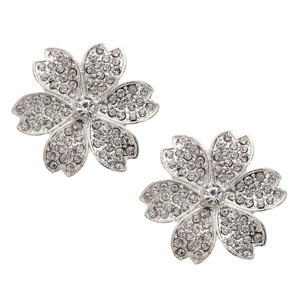 Silver Flower Charms Rhinestone Connectors for Bracelets 4pcs/lot 45mm