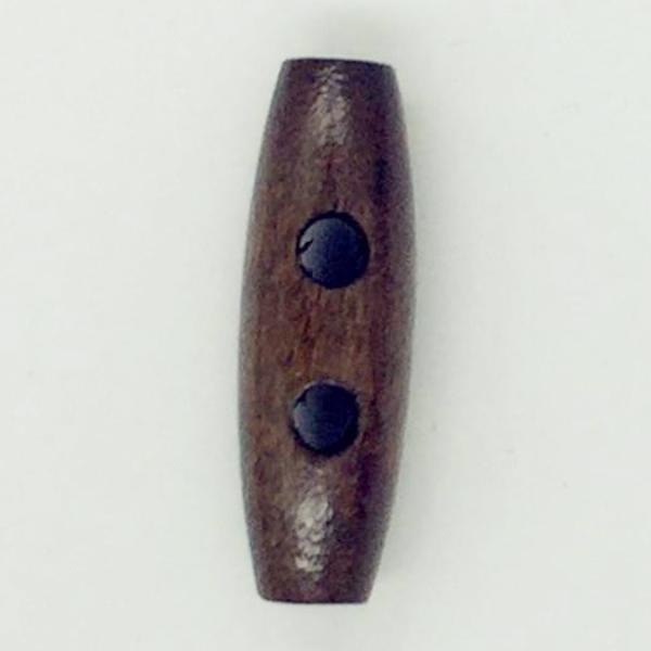 Dark Brown Toggle 2 holes Coat Buttons 30x10mm 25pc