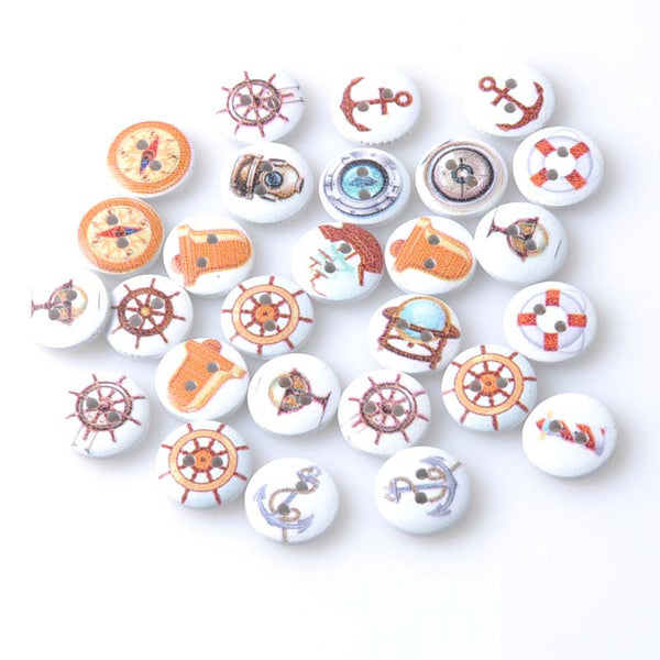 Nautical Assorted Color Wood button 100pcs 15mm