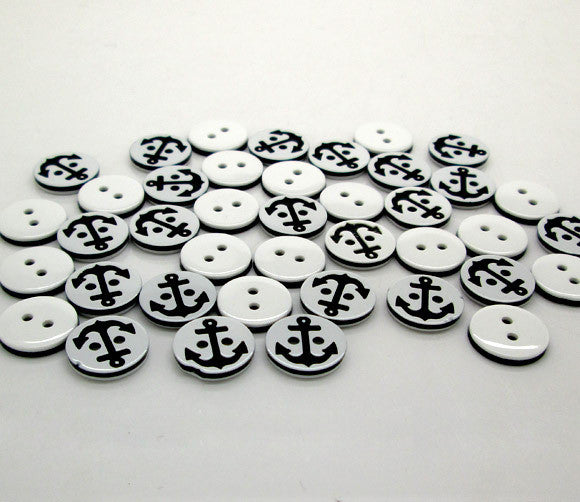 Nautical Black  Anchor Pattern 2 Holes Resin Sewing Buttons 200pc 12.5mm