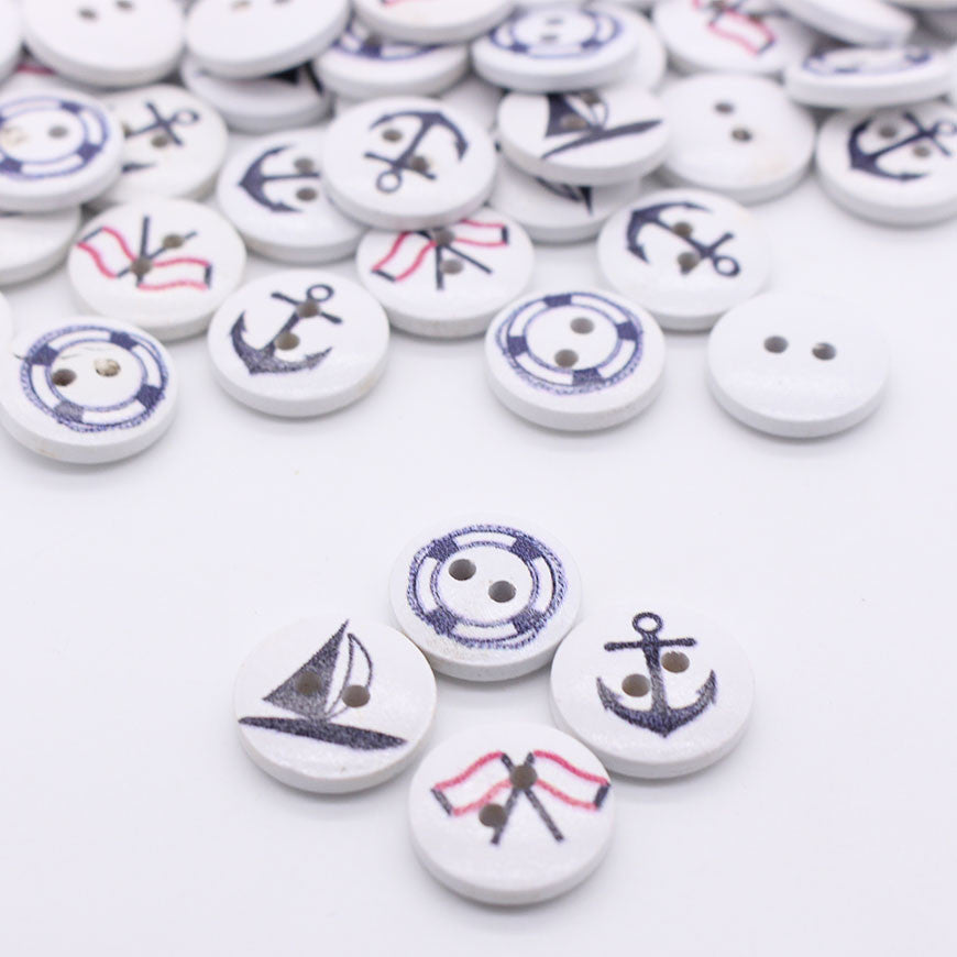 Nautical Assorted Mono or Two colors buttons 50pc 15mm