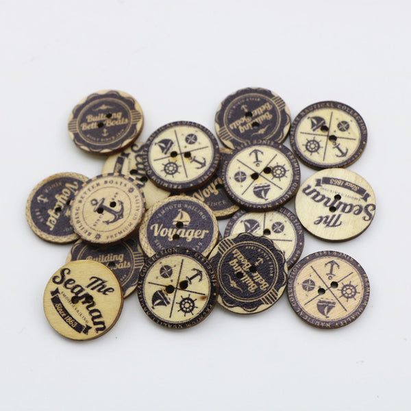 Nautical and nature color buttons 25mm 50pcs
