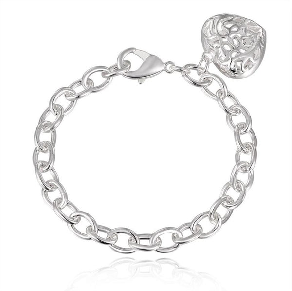 Silver Heart Silver Plated Shackles Bracelets 20cm