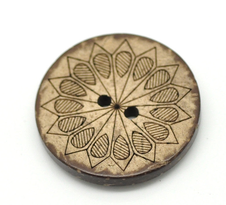 Coconut Shell Brown Pattern 2 Holes Round Buttons 28mm 30pc