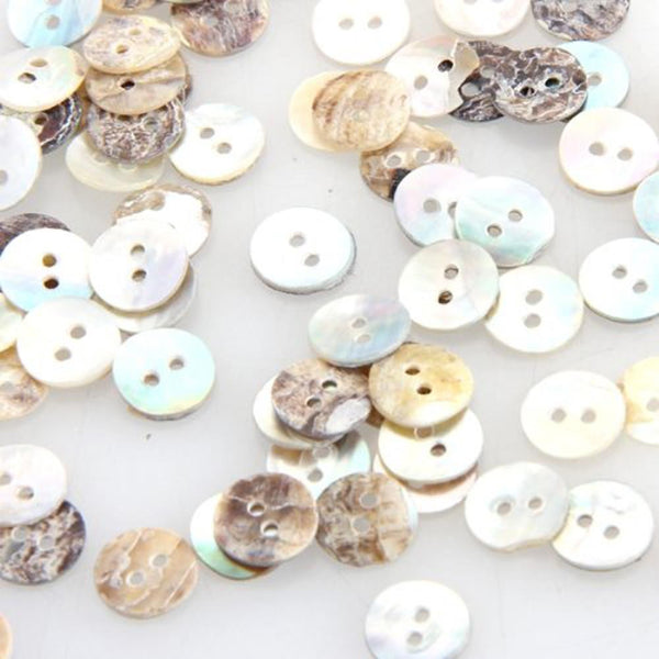 Round Shell Sewing Buttons 100pc 8mm