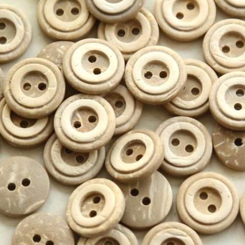 Nature Coconut, 2-Hole Button with Rounded Rim 13mm 50pc