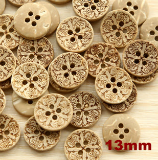 Coconut floral pattern 4 holes button 13mm 50pc