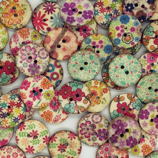 Coconut  Mix Color Pattern 2 Holes Round Buttons 20mm 50pc