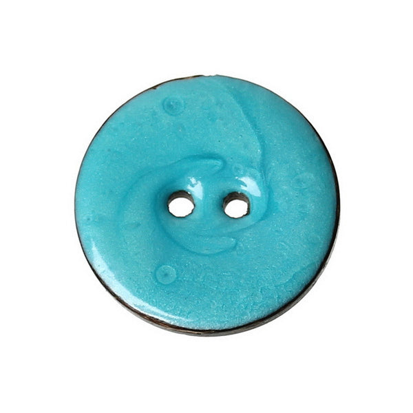 Enamel Lightblue Coconut Shell 2 Holes Buttons 25mm 10pcs