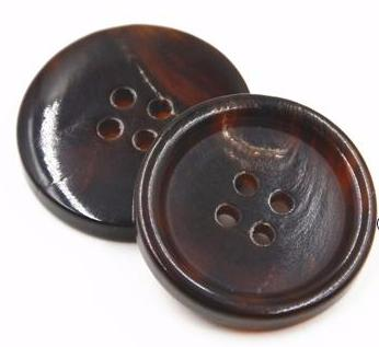 """Honna' Natural Brown Real Buffalo Horn Button, 18mm-25mm"