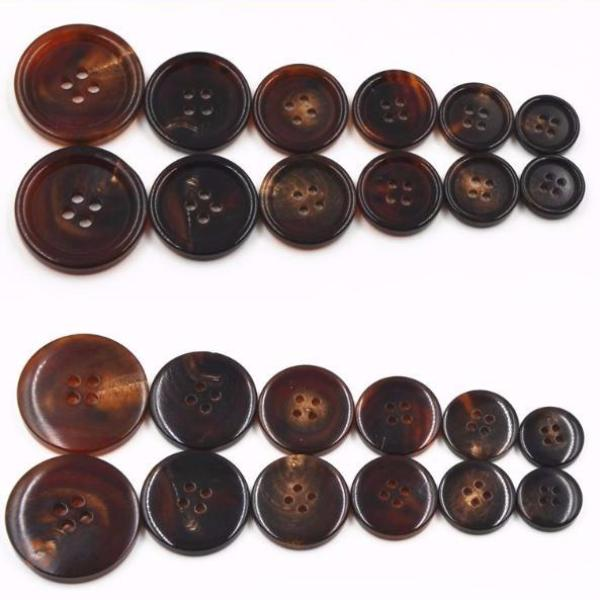 High Quality Brown Natural horns coat buttons 18mm to 23mm, 11pc