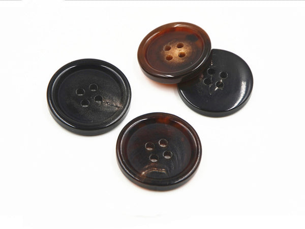Wholesales 100pcs High Quality Natural Brown or Black  Real Buffalo Horn Button