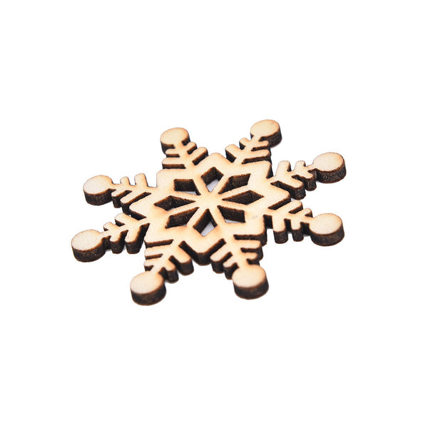 Christmas Handmake Snowflake Wooden Ornament Approx 51mm 10pc