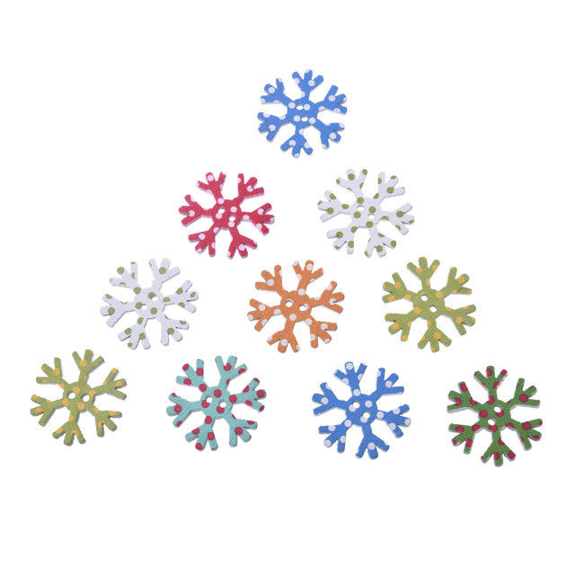 Christmas Snowflake Wooden 2 Holes Buttons 25x25mm 50pcs