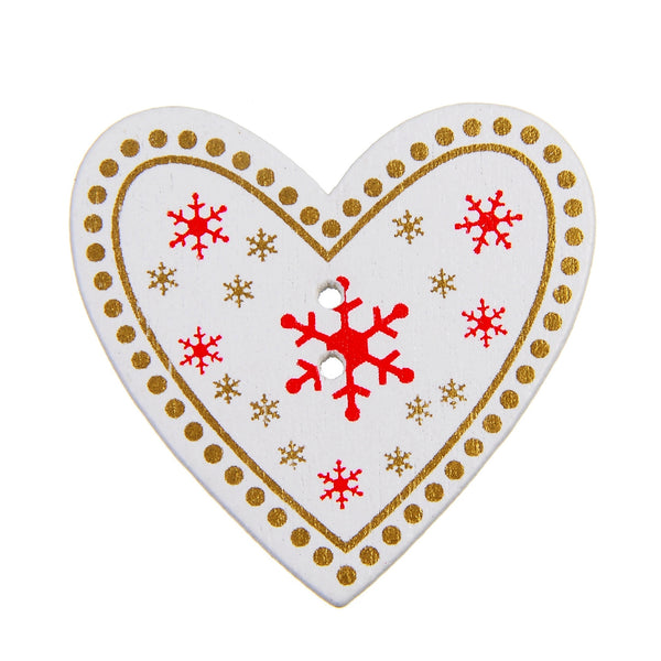 Christmas Red Heart with Snowflakes 2 Holes wood button 33 x 34mm 50pcs