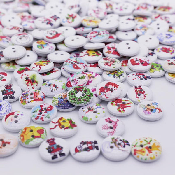 Christmas Painting Wooden 2 Holes Buttons 15mm 100pcs