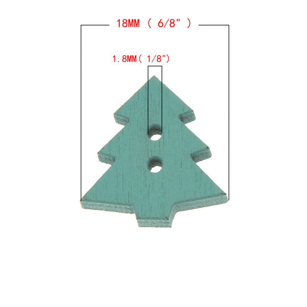 Christmas Tree Mixed Color 2 Holes Button 18x17mm 100pcs