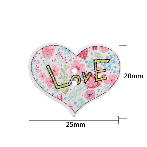 Mixed Multi Color Heart Wood 2 Holes Buttons 20x25mm 50pcs