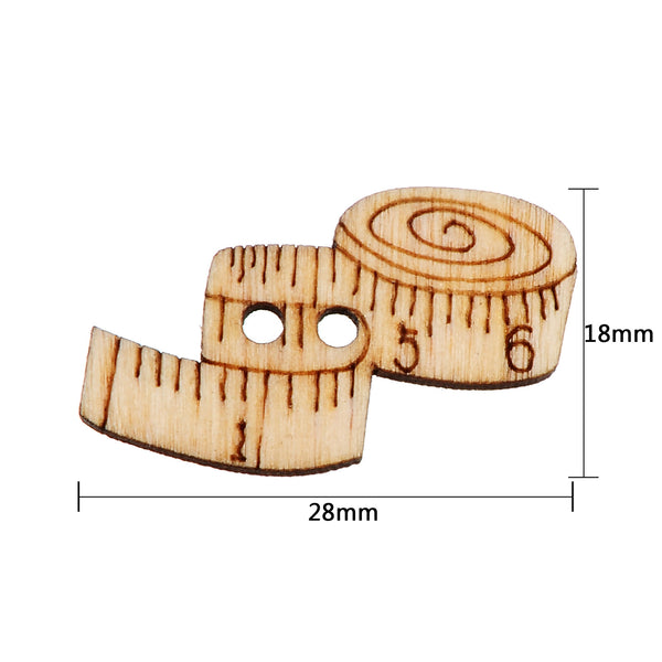 Tailor Ruler 2 Holes wood button 28 x 18mm 100pcs