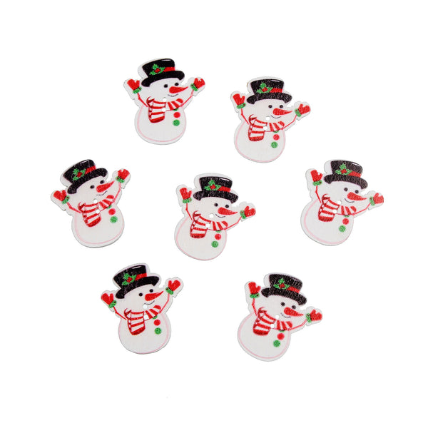 Christmas Snowman 2 Holes wood button 35 x 32mm 50pcs