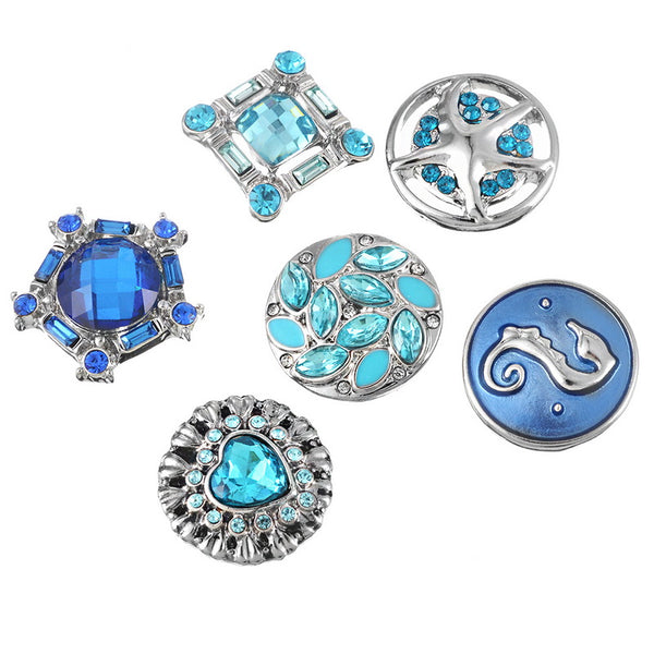 Shinny Blue Rhinestone Snap Fit for Bracelets. 18mm Snap, 12pcs Mixed Color