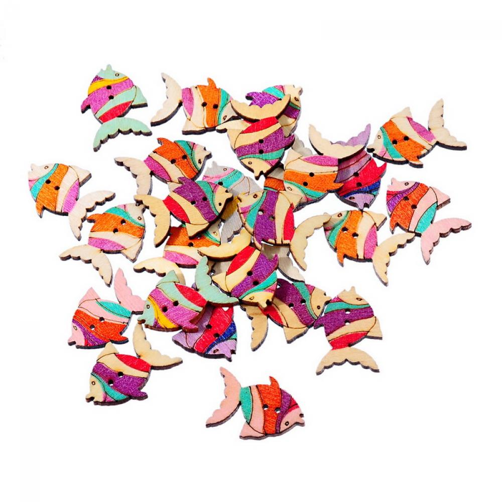 Fish Wood Sewing Button 50pcs 26x19mm
