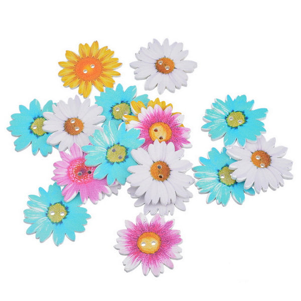 Mixed Daisy Flower Wooden Buttons 2 Holes 20pc