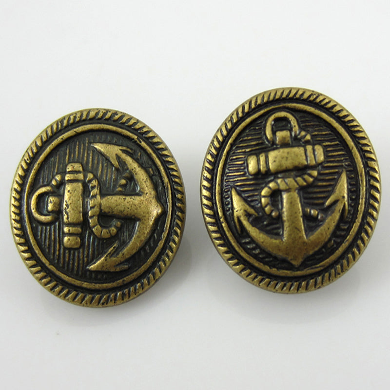 Bronze Nautical Anchor Button 15mm 30pc