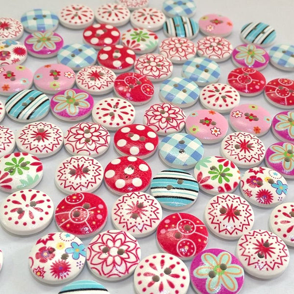 Colorful Christmas Painting Wooden 2 Holes Buttons 15mm 100pcs
