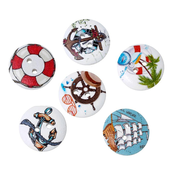 Nautical Assorted Color Wood button 100pcs 20mm