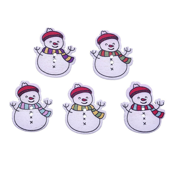 Mixed Christmas Decor Buttons Sewing Wooden Buttons  50pcs