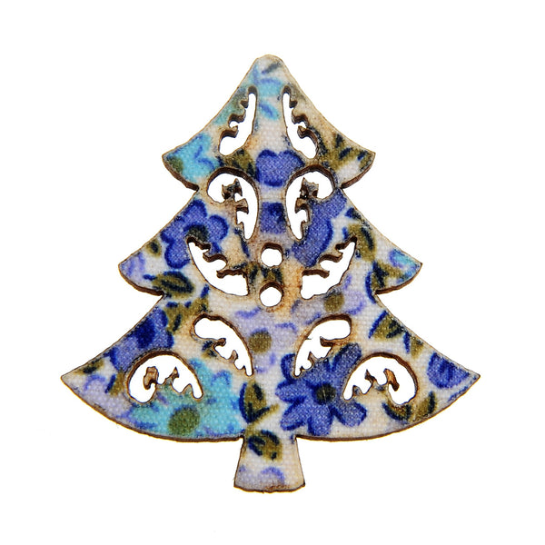 Mixed Hollow Christmas Tree Christmas Tree Mixed Color 2 Holes Button 34x33mm 50pcs