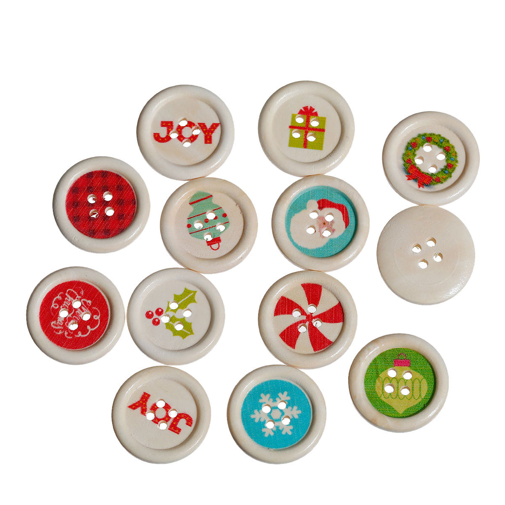 Christmas Mix Wood 4 holes Buttons 25mm 30pcs