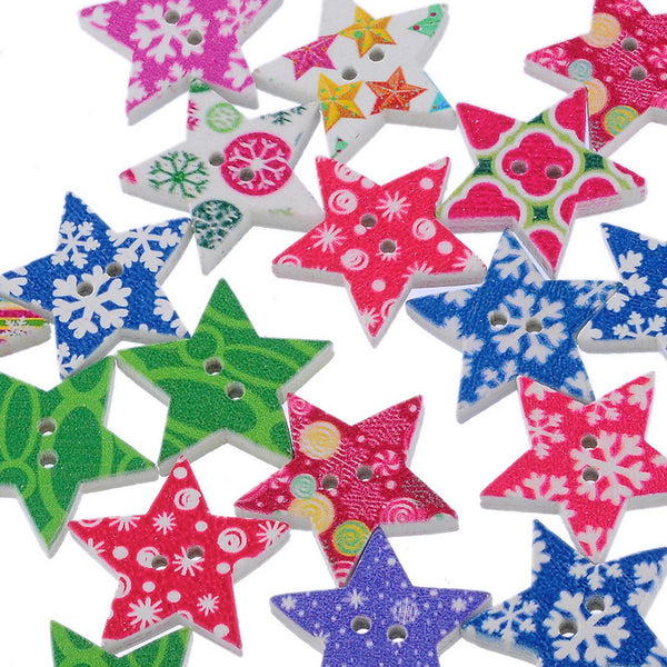 Mixed Christmas Star Buttons 25x24mm, 50pc