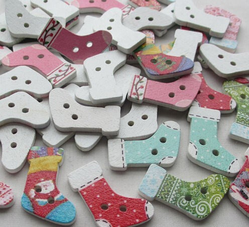 Cute Christmas Socks Buttons 30mm 20 pcs