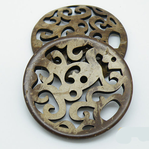 Carve Vintage Coconut buttons 43mm 5pcs